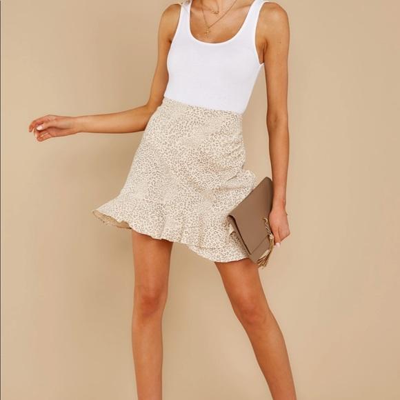 MINKPINK- Halsey Beige Print Mini Skirt (25)
